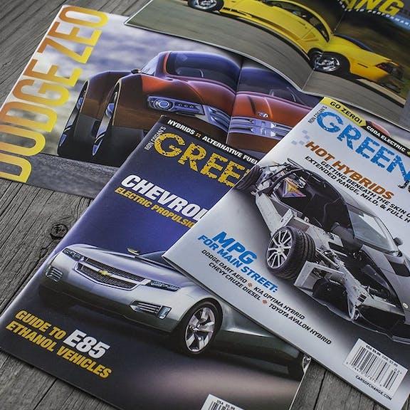 Green Car Journal Print Design